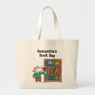 Maisy y un estante de libros bolsa tela grande