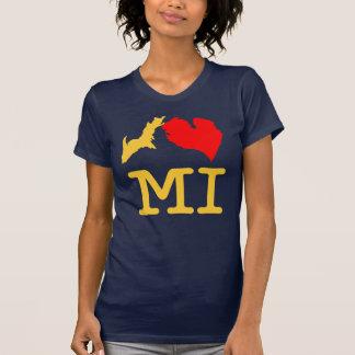 Maíz del MI del ♥ I (corazón Michigan de I) y azul Tshirts