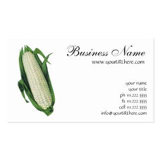 Maíz en la mazorca del blanco de las verduras de tarjetas de visita