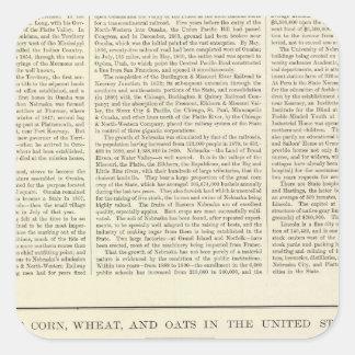 Maíz, trigo, y avena de los E.E.U.U., 1870-1891 2 Pegatina Cuadrada
