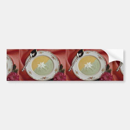 Maíz y sopa de guisantes etiqueta de parachoque