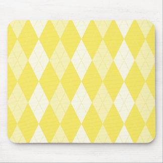 Maize Yellow Argyle Pale Gold Small Diamond Shape Mouse Pad