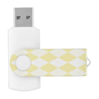 Maize Yellow Argyle Pale Gold Small Diamond Shape USB Flash Drive