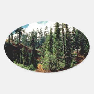 Majestad de las naturalezas del bosque pegatinas óvales