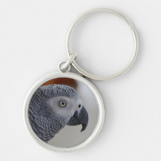 Majestic African Grey Parrot Keychain