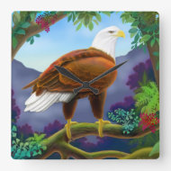 Majestic American Bald Eagle Wall Clock