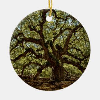 Majestic Angel Oak Ceramic Ornament