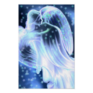 Majestic Blue Angel With Stars Poster