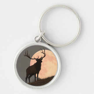 Majestic Bull Elk and Full Moon Rise Keychain