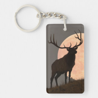 Majestic Bull Elk and Full Moon Rise Keychain