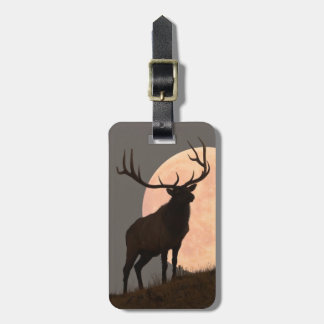 Majestic Bull Elk and Full Moon Rise Luggage Tag