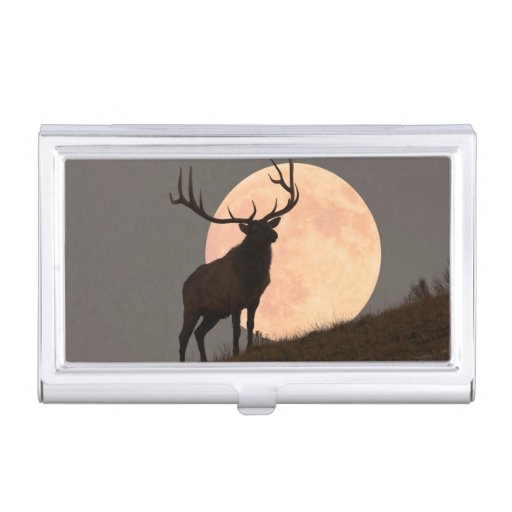 Majestic Bull Elk and Full Moon Rise Case For Business Cards