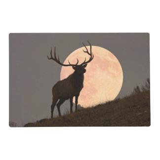 Majestic Bull Elk and Full Moon Rise Placemat