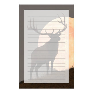 Majestic Bull Elk and Full Moon Rise Stationery