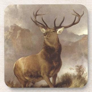 Majestic Bull Elk Mountain Storm Bar Coasters Set