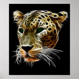 Majestic Cat Leopard Head Poster