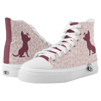 Majestic Chihuahua on Pink Leopard Print High-Top Sneakers