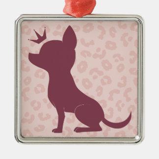 Majestic Chihuahua on Pink Leopard Print Metal Ornament