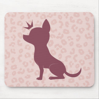 Majestic Chihuahua on Pink Leopard Print Mouse Pad