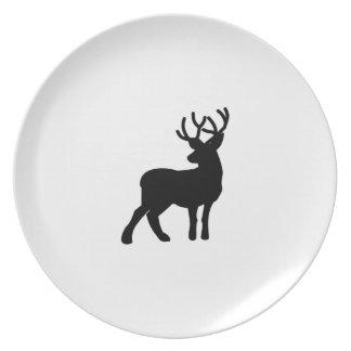 Majestic Deer Silhouette - Black Melamine Plate