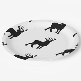 Majestic Deer Silhouette - Black Paper Plate