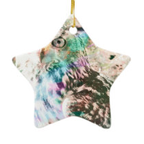 Majestic Eagle Owl Digital Watercolor Ceramic Ornament