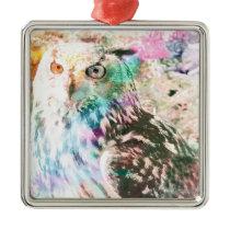 Majestic Eagle Owl Digital Watercolor Metal Ornament