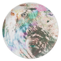 Majestic Eagle Owl Digital Watercolor Plate