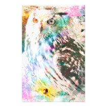 Majestic Eagle Owl Digital Watercolor Stationery