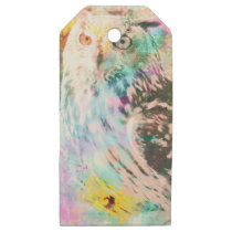 Majestic Eagle Owl Digital Watercolor Wooden Gift Tags