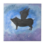 """Majestic Flying Pig Ceramic Tile<br><div class=""""desc"""">I brush painted this winged,  flying pig in watercolor and ink.</div>"""