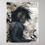 Majestic Friesian Black Stallion Horse by BiHrLe Poster