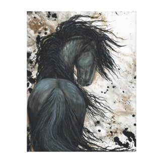 Majestic Friesian Horse by Bihrle Canvas Print
