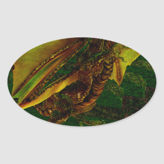 Majestic Gold Dragon Oval Stickers