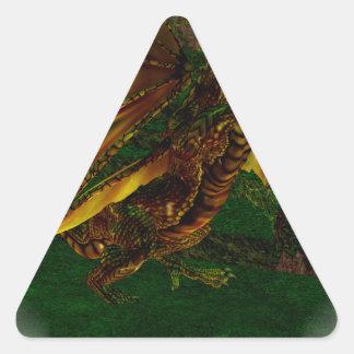 Majestic Gold Dragon Triangle Sticker