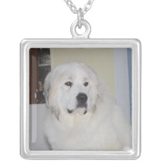Majestic Great Pyrenees Square Pendant Necklace