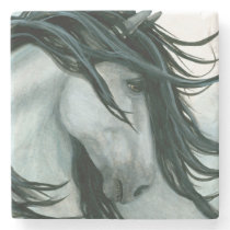 Majestic Grey Horse by Bihrle Stone Coaster