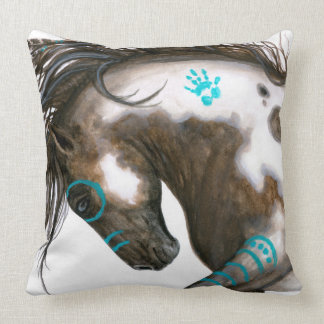 Majestic Horse Teal War Paint by BiHrle Pillow