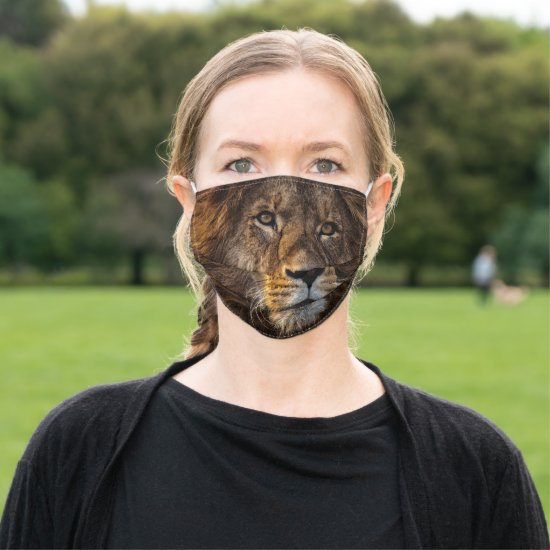 Majestic King of the Jungle Lion Illustration Adult Cloth Face Mask