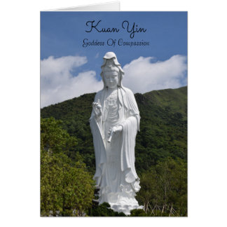 Majestic Kuan Yin Statue greeting card. Card