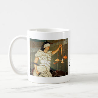 Majestic Lady Justice in Stained Glass Design Coffee Mug
