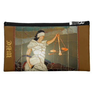 Majestic Lady Justice in Stained Glass Design Cosmetic Bag