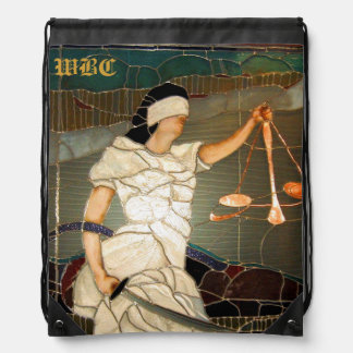 Majestic Lady Justice in Stained Glass Design Drawstring Backpack