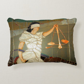 Majestic Lady Justice in Stained Glass Design Accent Pillow