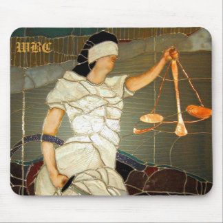 Majestic Lady Justice in Stained Glass Design Mouse Pad