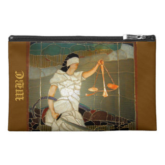 Majestic Lady Justice in Stained Glass Design Travel Accessory Bag