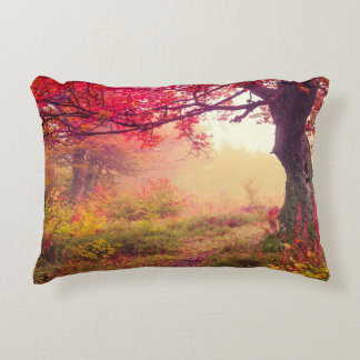 Majestic Landscape With Autumn Trees In Forest Decorative Pillow