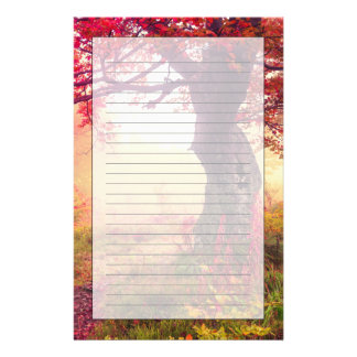 Majestic Landscape With Autumn Trees In Forest Stationery Design