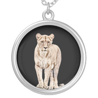 Majestic Lioness Round Pendant Necklace