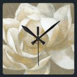 """Majestic Magnolia Square Wall Clock<br><div class=""""desc"""">Beautiful Large White Magnolia On Neutral background. Albena Hristova</div>"""